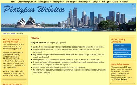 Screenshot of Privacy Page platywebs.com.au - Privacy | Platypus Websites Cheap Hosting Australia affordable shoppingcarts - captured April 12, 2017