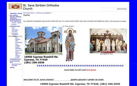 Screenshot of Home Page stsavahouston.org - St. Sava Serbian Orthodox Church - captured Oct. 7, 2014