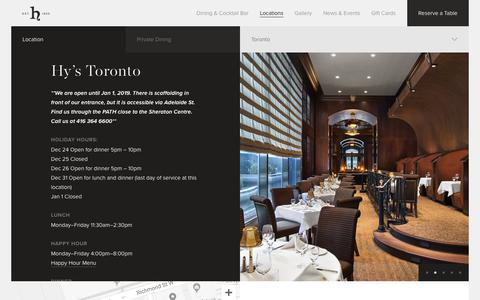 Screenshot of Locations Page hyssteakhouse.com - Hy's Steakhouse & Cocktail Bar — Toronto - captured Dec. 16, 2018