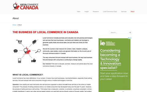 Screenshot of About Page localcommercecanada.com - The business of Local Commerce in Canada | Reviewing the best solutions for Local retailers and merchants in Canada - captured Sept. 29, 2018