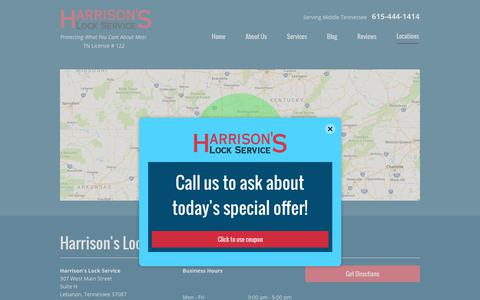 Screenshot of Contact Page Locations Page harrisonlock.com - Contact Harrison's Lock Service | Lebanon, TN | 615-444-1414 - captured July 18, 2017