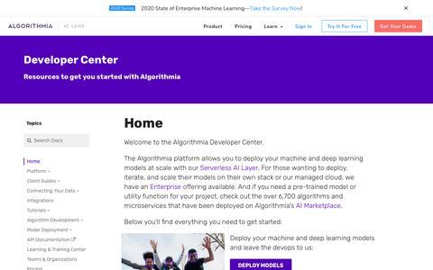 Screenshot of Developers Page algorithmia.com - Home - Algorithmia Developer Center - captured Sept. 24, 2019