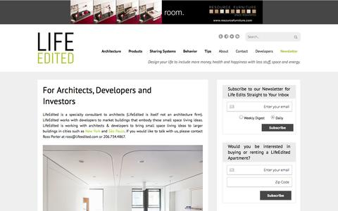 Screenshot of Developers Page lifeedited.com - For Architects, Developers and Investors - LifeEdited - captured Oct. 31, 2014