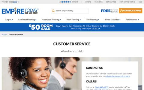 Screenshot of Contact Page Support Page empiretoday.com - Customer Support & General Questions | Empire Today - captured Aug. 14, 2019