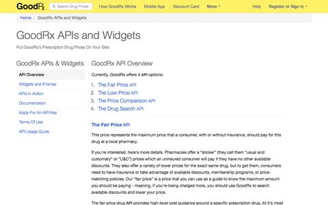 Screenshot of Developers Page goodrx.com - GoodRx API's and Widgets - captured Sept. 16, 2014