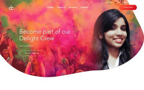 Screenshot of Jobs Page cloudcherry.com - CloudCherry Job Openings | Startup Jobs | CloudCherry - captured Jan. 17, 2019