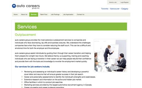 Screenshot of Services Page autocareersgroup.com - Services - captured Oct. 4, 2014