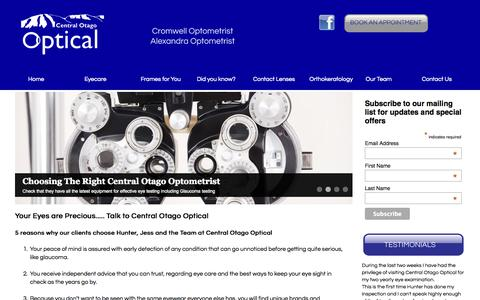 Screenshot of Home Page centraloptical.co.nz - Cromwell and Alexandra Optometrists – Central Otago Optica - captured Oct. 2, 2014
