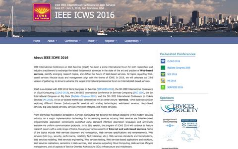 Screenshot of About Page icws.org - ICWS 2016 - captured May 30, 2016
