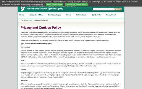 Screenshot of Privacy Page ntma.ie - Privacy and Cookies Policy | National Treasury Management Agency (NTMA) - captured Oct. 26, 2014