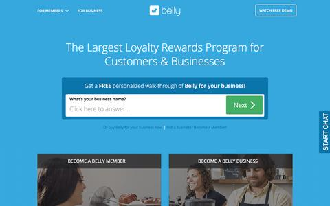 Screenshot of Home Page bellycard.com - Business Customer Loyalty Program | Belly - captured Aug. 28, 2016
