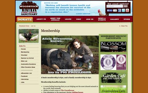 Screenshot of Signup Page woodstocksanctuary.org - Membership «  Woodstock Farm Animal Sanctuary - captured Oct. 1, 2014