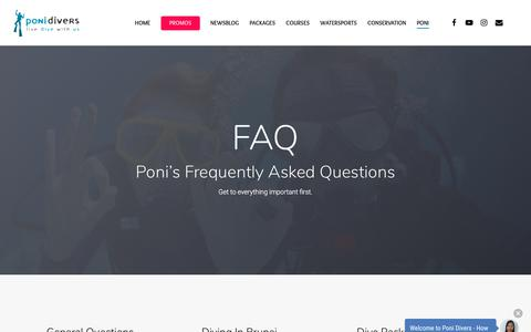 Screenshot of FAQ Page ponidivers.com - Frequently Asked Questions | Poni Divers Brunei | Dive in Borneo - captured July 20, 2018