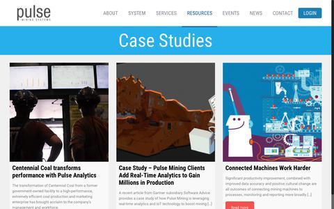 Screenshot of Case Studies Page miningsystems.com.au - Case Studies - Pulse Mining Systems - captured Sept. 29, 2018