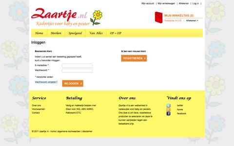 Screenshot of Login Page zaartje.nl - Klant-login - captured Oct. 27, 2014