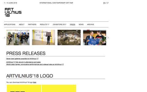 Screenshot of Press Page artvilnius.com - Press - International Contemporary Art Fair - captured Feb. 24, 2018