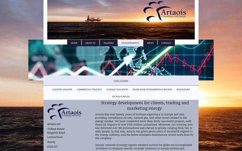 Screenshot of Case Studies Page artaoisconsulting.com - Strategy development for energy clients in trading and marketing. - captured Nov. 21, 2016