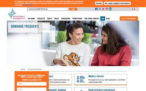 Screenshot of FAQ Page cmsantagostino.it - Centro Medico Santagostino - Domande frequenti  - Milano - Sesto San Giovanni - captured Aug. 22, 2016