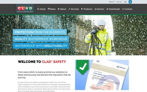 Screenshot of Home Page cladsafety.co.uk - Clad Safety – UK Designer & Supplier of Branded Workwear & PPE - captured July 13, 2016