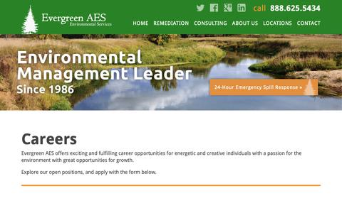 Screenshot of Jobs Page evergreenaes.com - Careers with Evergreen AES - captured Sept. 29, 2018