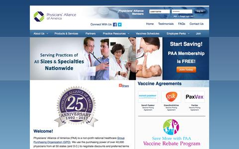 Screenshot of Home Page physall.com - A Nationwide Group Purchasing Organization - captured Aug. 1, 2017