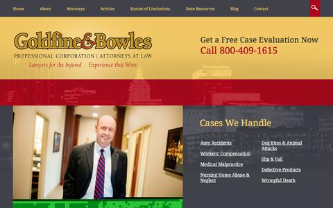 Screenshot of Site Map Page goldfineandbowles.com - Site Map | The Law Offices of Goldfine & Bowles, P.C. | Peoria, Illinois - captured Aug. 26, 2017