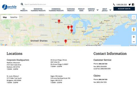 Screenshot of Contact Page Locations Page jaeckledistributors.com - Our Locations | Jaeckle Distributors - captured Sept. 20, 2018