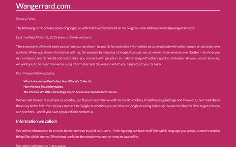 Screenshot of Privacy Page wangerrard.com - Contact. Page on Contactwangerrard.com - captured Sept. 22, 2018