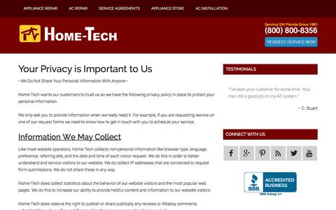 Screenshot of Privacy Page home-tech.com - Your Privacy is Important to Us - Home-Tech AC and Appliances - captured Jan. 31, 2016