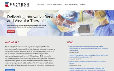 Screenshot of Home Page proteontherapeutics.com - Proteon Therapeutics - captured Jan. 15, 2015