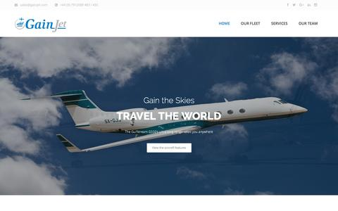 Screenshot of Home Page gainjet.com - GainJet Aviation I Private Jet Charter Operator - captured May 14, 2017