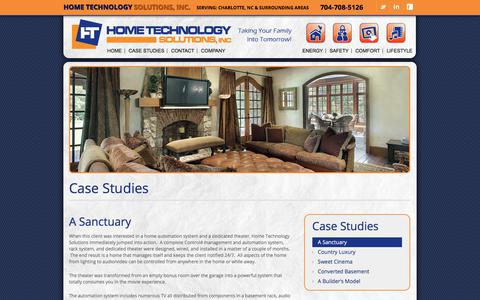 Screenshot of Case Studies Page hometechnologysolutions.com - A Sanctuary - Home Technology Solutions - captured July 21, 2018