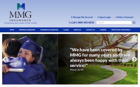 Screenshot of Home Page mmgins.com - MMG Insurance; protecting your piece of the world. - captured Oct. 1, 2018
