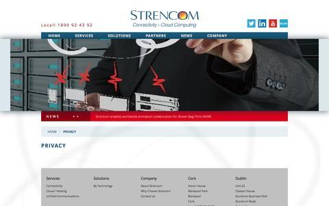 Screenshot of Privacy Page strencom.net - Strencom - Privacy - captured Nov. 5, 2014