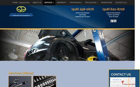 Screenshot of Services Page sanportauto.com - SERVICES - Sanport - captured Nov. 17, 2016
