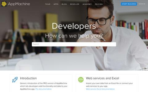 Screenshot of Developers Page appmachine.com - Developers - AppMachine - captured Oct. 2, 2015