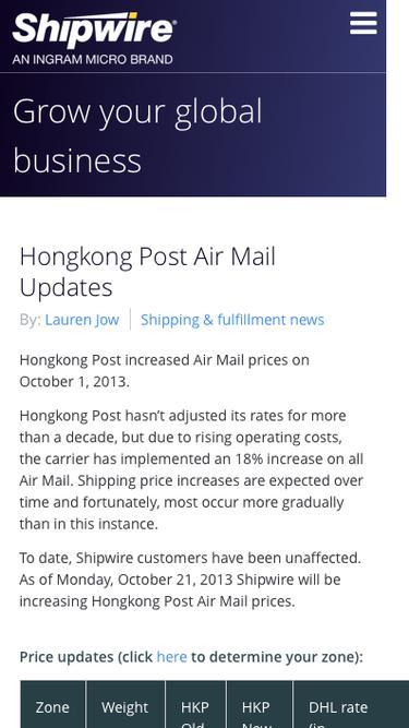 Hongkong Post Air Mail Updates -