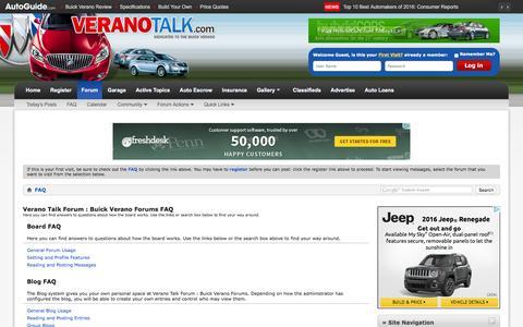Screenshot of FAQ Page veranotalk.com - Verano Talk Forum : Buick Verano Forums FAQ - captured March 10, 2016