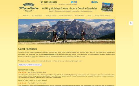 Screenshot of Testimonials Page colletts.co.uk - Thank you letters, Guest Feedback, Reviews & Testimonials for Collett's Mountain Holidays | Collett's Mountain Holidays - captured Oct. 3, 2014