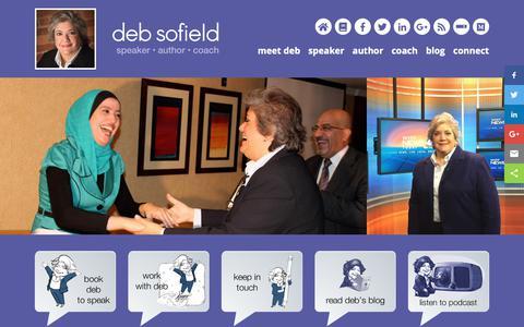 Screenshot of Home Page debsofield.com - Deb Sofield - Speaker | Author | Executive Speech & Presentations Coach - captured Oct. 8, 2018