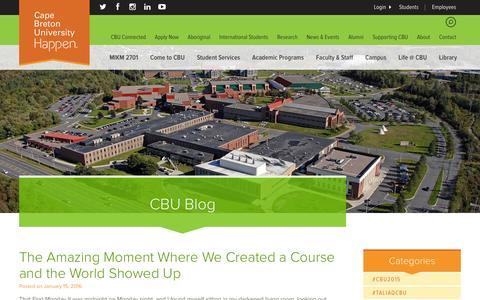 Screenshot of Blog cbu.ca - The Amazing Moment Where We Created a Course and the World Showed Up | Cape Breton University - captured Jan. 18, 2016