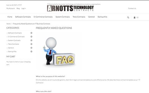 Screenshot of FAQ Page technologylawyer.com.au - Frequently Asked Questions on IT Business Contracts - captured Oct. 4, 2014