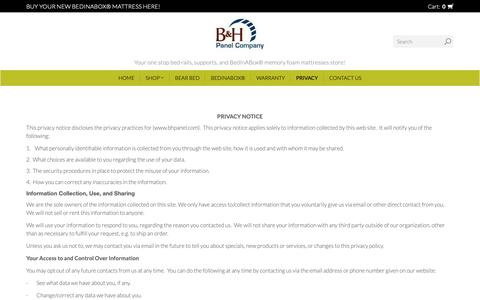 Screenshot of Privacy Page bhpanel.com - Privacy  | B & H Panel Company Inc. - captured Sept. 26, 2018
