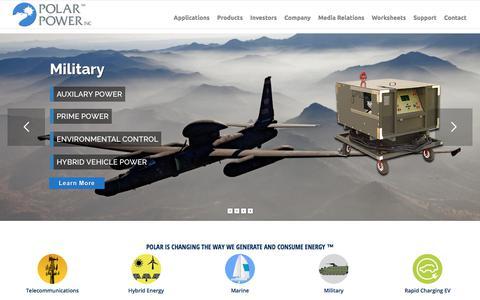Screenshot of Support Page polarpower.com - DC generators & Alternators, Hybrid Power Systems, Solar Power, Telecommunications, Marine, Military. - captured Feb. 23, 2018