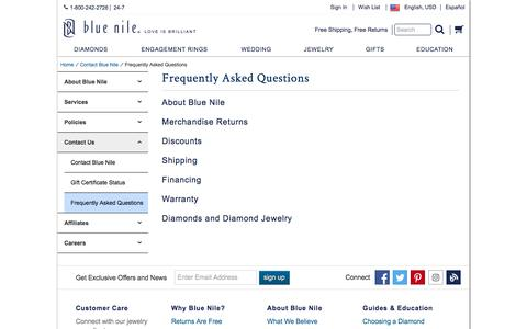 Screenshot of FAQ Page bluenile.com - Frequently Asked Questions | Blue Nile - captured April 19, 2018
