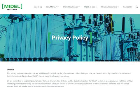 Screenshot of Privacy Page midel.com - Privacy & Cookie Policy | MIDEL Worldwide - captured Nov. 15, 2018