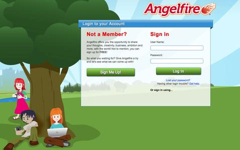 Screenshot of Login Page lycos.com - Angelfire - Login - captured Oct. 29, 2014