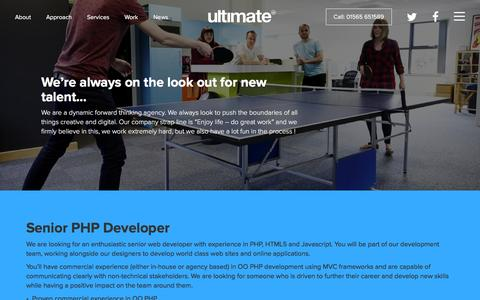 Screenshot of Jobs Page ultimate-uk.com - Careers - Ultimate Creative Communications - captured Feb. 13, 2016