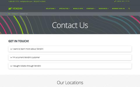 Screenshot of Contact Page vendini.com - Contact Us - - captured July 22, 2019