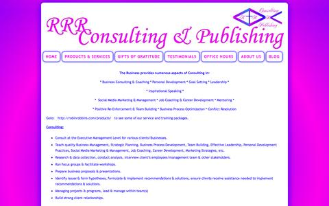 Screenshot of Services Page rrrconsulting-publishing.com - Services | Robin R. Robbins Consulting & Publishing - captured Sept. 30, 2014